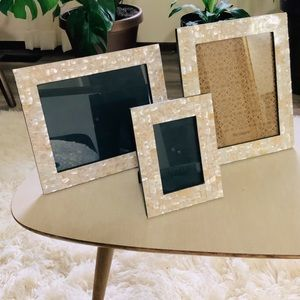 THREE Pier 1 Imports Mother Of Pearl Frames NWT